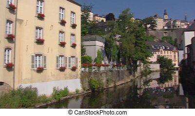 River Alzette in Luxembourg City quarter Grund + pan - House...