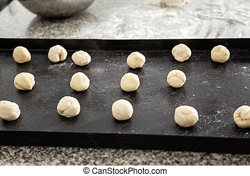 Pasta Dough Balls In Tray At Commercial Kitchen - Pasta...