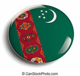 Turkmenistan flag design round badge.