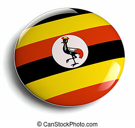 Uganda flag design round badge.