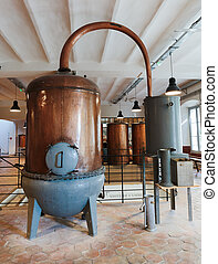 Ancient distiller for the production of perfume in Fragonard...