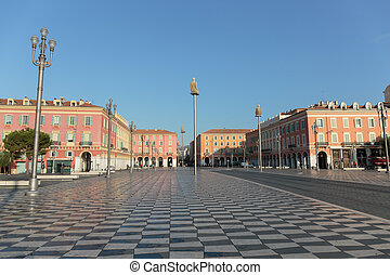 NICE, FRANCE - OCTOBER 30, 2014: Views of the Place Massena....