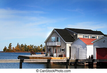 Boat Dock - Boat dock and house at copper harbor Michigan