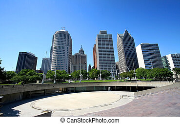Downtown Detroit - arch and sky scrapers in detroit down...