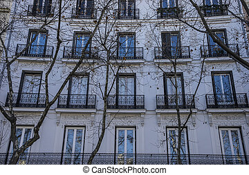 facades of typical architecture of the capital of Spain, Madrid