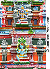Hindu Temple - Hindu god statues on a temple in southern...