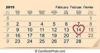 February 14 Valentines Day. Calendar illustration in vector...