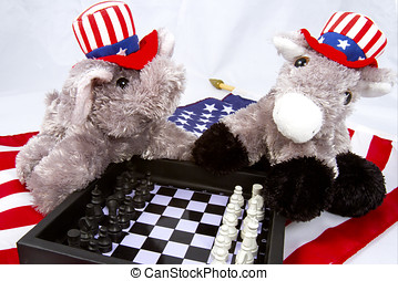 Political Games - Republican elephant and Democrat donkey...