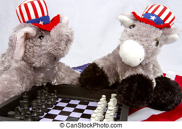 Political Chess Game - Republican elephant and Democrat...