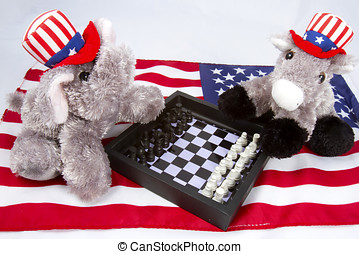Political Chess Match - Republican elephant and Democrat...