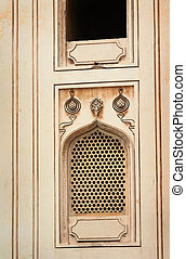 Window on historic charminar monument in Hyderabad India
