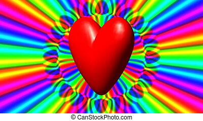 Love heart with rainbow waves loop - Love heart with rainbow...
