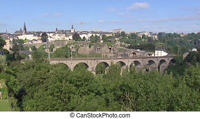 Skyline City of Luxembourg, Petrusse Valley and...