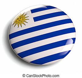Uruguay round flag isolated on white.