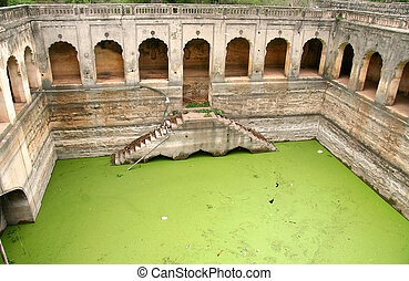 Qutb Shahi Tombs - Green moss water in the Historic Quli...
