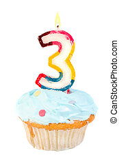 third birthday cupcake with blue frosting on a white...