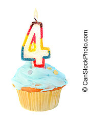 fourth birthday cupcake with blue frosting on a white...