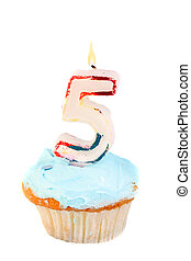 fifth birthday cupcake with blue frosting on a white...