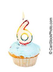 sixth birthday - sixth birthday cupcake with blue frosting...