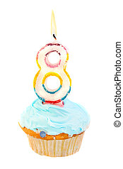 eighth birthday - eighth birthday cupcake with blue frosting...