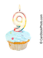 ninth birthday - ninth birthday cupcake with blue frosting...