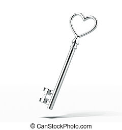 Silver key in shape of heart