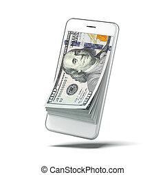 Dollars inside white smart phone