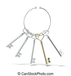 Silver key in shape of heart and other keys