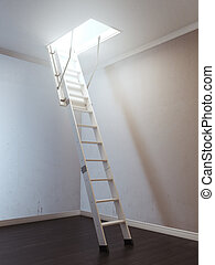 Room with wooden ladder to the attic