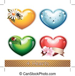 Four Hearts - Vector illustration representing four hearts:...