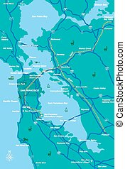 San Francisco Bay Area map - illustration created by using...