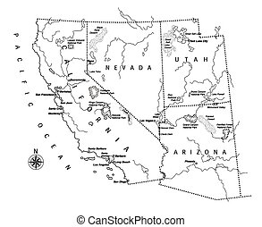 US west coast map - illustration created by using Adobe...