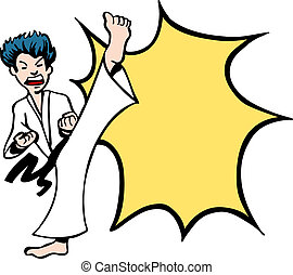 Karate Kick vector illustration image scalable to any size.