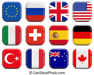 World flags square icons set on white background.