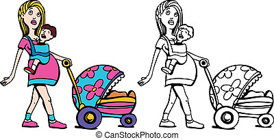 Young Pregnant Woman with Many Children art