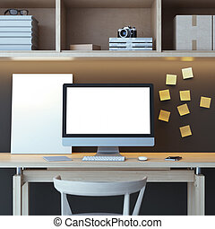 Modern workspace with computer and yellow stickers