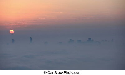 time lapse aerial foggy weather - time lapse sunrise aerial...