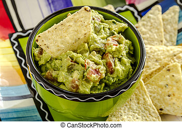 Fresh Homemade Chunky Guacamole Dip - Close up of homemade...