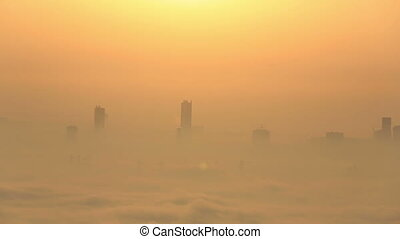 sunrise aerial view foggy weather - sunrise aerial view...