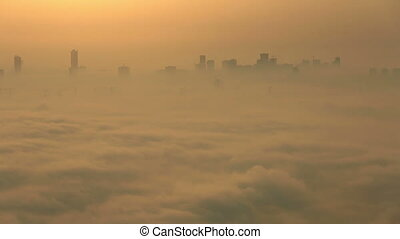 time lapse sunrise foggy weather - time lapse sunrise aerial...