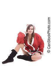 Young Santa Girl posing isolated over white background
