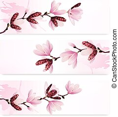 Three Spring banners with blossom brunch of pink flowers....
