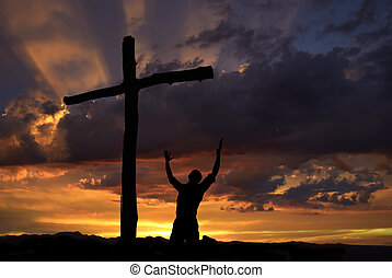 Dramatic sky scenery with a worshiper - Dramatic sky scenery...