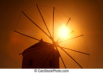 Windmill in Oia at sunset, Santorini