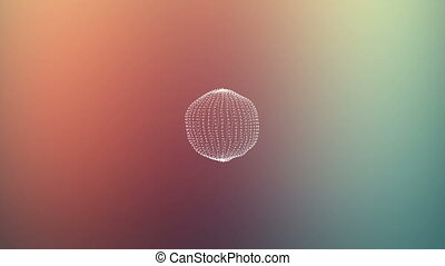 Beautiful sphere of connected dots gets noisy Abstract...