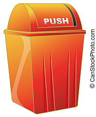 dustbin - an orange dustbin used to hold the waste