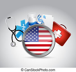 us health insurance concept illustration design over a white...