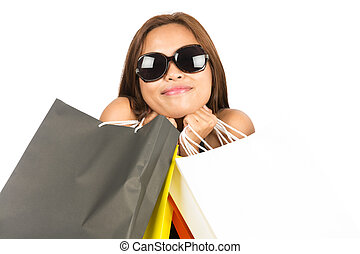 Asian Woman Embracing Shopping Bags Close up H - Close up of...