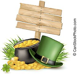 Saint Patricks Day background with clover leaves, green hat...