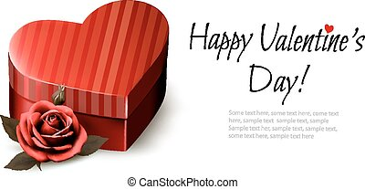 Holiday vintage Valentine`s day background. Red rose with red heart-shaped gift box. Vector